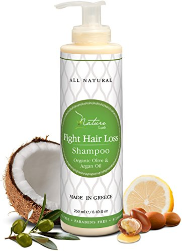 Nature Lush Organic Argan Anti-Hair Loss Shampoo with Rich Vitamins - Sulfate Free & Rich Saw Palmetto DHT Hair Root Treatment - For Men & Women - 100% Pure, Natural - All Hair Types (250 ml)