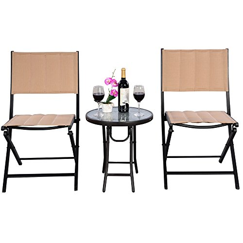 Outdoor Patio Furniture Bistro Set - Outside Foldable Portable Conversation Sets W/ 2 Chairs & Table - Modern Seating Design Perfect For A Cafe Pub Garden Front Porch Yard Lawn ()