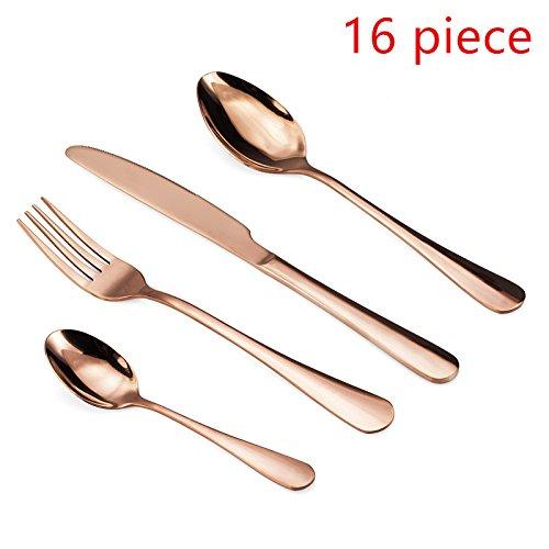WOAIWO-Q Cutlery Set Stainless Steel,Flatware Set for 4 Person, Kitchen Silverware Cutlery Tableware Dinnerware Anti-rust Gold Utensil Set, Steak Knife Set