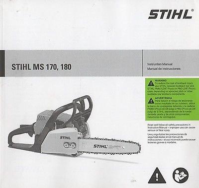 PRINTED 2012 STIHL CHAIN SAW MS 170, 180 INSTRUCTION MANUAL (262)