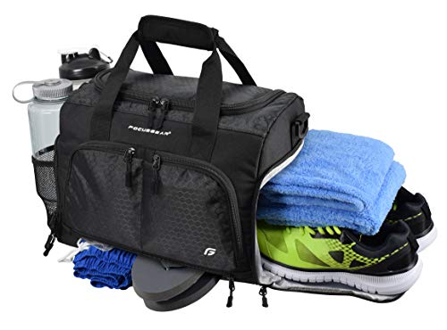 Ultimate Gym Bag 2.0: The Durable Crowdsource Designed Duffel Bag with 10 Optimal Compartments Including Water Resistant Pouch (Black, Small -