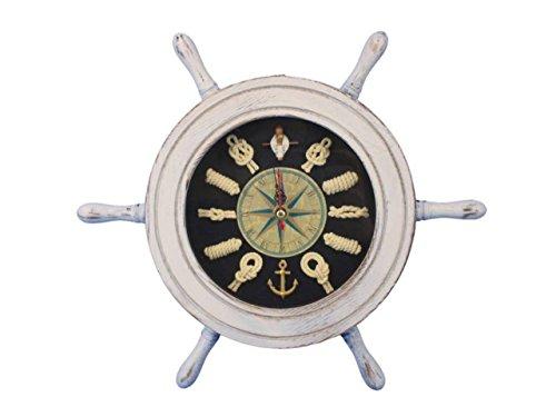 Hampton Nautical Whitewashed and Black Ship Wheel Clock, 12