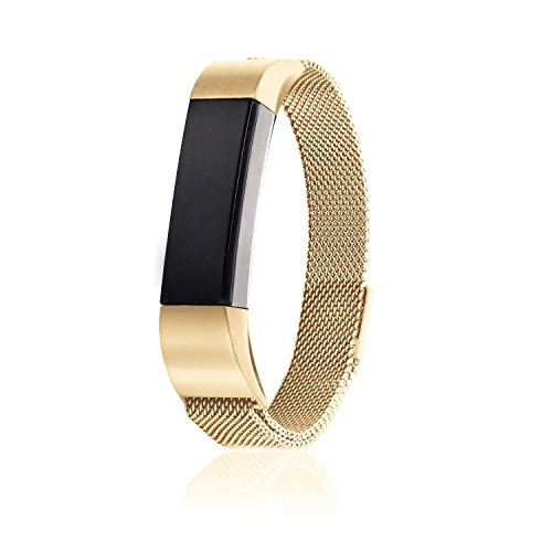 18k Gold Loop (18K Adjustable 316L Stainless Steel Milanese Magnetic Loop Watchband Replacement Accessory Bracelet Strap fit for Fitbit Alta HR Band Tracker (Gold))