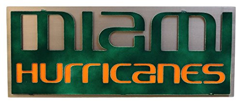 Gear New University of Miami Hurricanes 3D Vintage Metal College Man cave Art, Large, ()