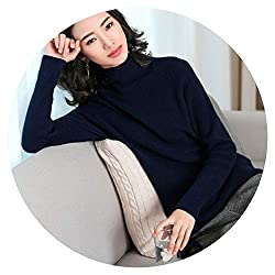 2018 Autumn And Winter New Women S High Collar Cashmere Sweater Female Navy Blue Xl
