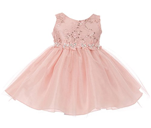 Price comparison product image Baby Girls Embroidered Rhinestone Ribbon Junior Bridesmaid Flower Girl Dress Blush Size S (G3592G)