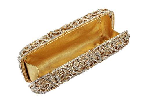 YILONGSHENG - Cartera de mano de Con Cuentas para mujer Dorado dorado