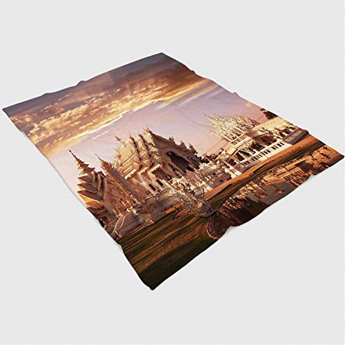 YOLIYANA Microfiber Throw Blanket Set/Perfect for Couch Sofa or Bed/49x78 inches/Home Decor,Ancient Chinese Temple with Fairy Sky and Garden in Noth Asian Traditional Architecture Home,Multi from YOLIYANA