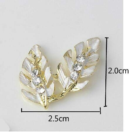 Laliva Leaf Leaves Flower Button 5pcs 30x25mm Flatback Enameled Crystal Flower Embellishments with Rhinestone Gold Color Bouquet - (Color: A)