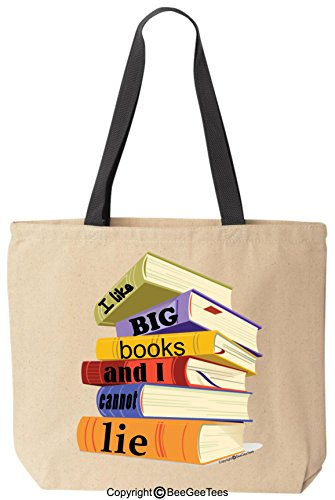 I Like Big Books And I Cannot Lie Funny Cotton Canvas Tote Bag Reusable by BeeGeeTees® (Black Handle)