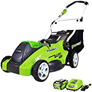 Greenworks 40V Push Lawn Mower, 16-Inch Electric Lawn Mower with 4.0Ah Battery and Charger Included