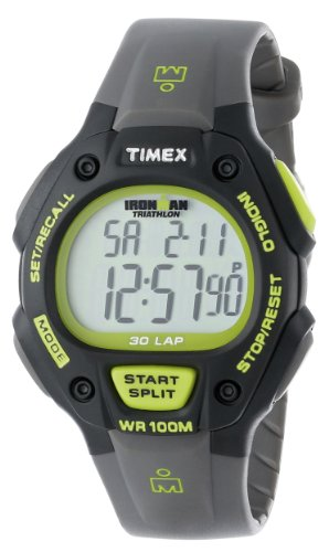 Timex Men's T5K692 Ironman Classic 30 Full-Size Gray/Green Resin Strap Watch