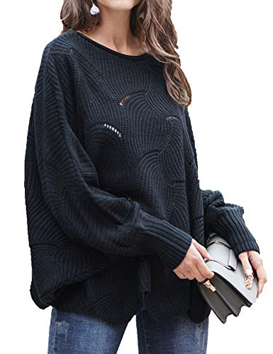 (Relipop Women's Pullover Batwing Sleeve Loose Hollow Knit Sweaters Black)