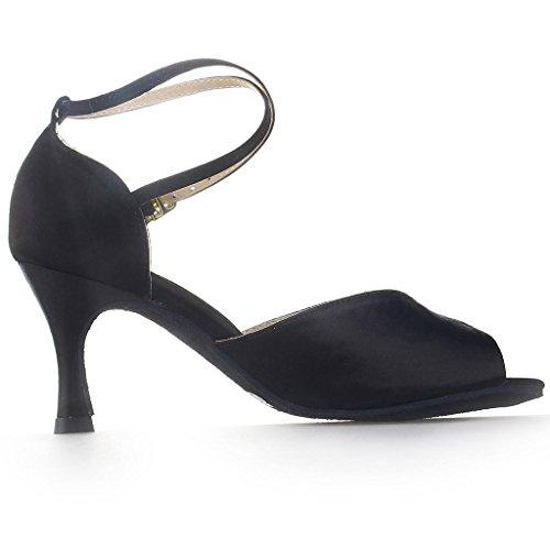 Jia Jia Y20522 Damen Sandalen Ausgestelltes Heel Super-Satin Latein Tanzschuhe Schwarz