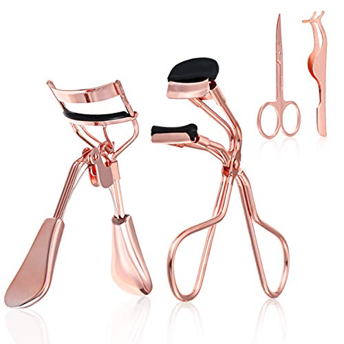 Eyelash Curler Kit for Women, Liaboe Mini Eyelash Makeup Tools Set with 2 Pieces Eyelash Curle, False Eyelashes Extension Tweezers, and Scissors, Mini Eyelash Curler fits All Eye Shape (Rose Gold)