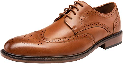 (JOUSEN Men's Dress Shoes Classic Brogue Oxford Business Wingtip Shoes (12,Brown))