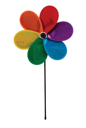 In the Breeze 6-Petal Rainbow Glitter Flower Spinner, 12-Inch