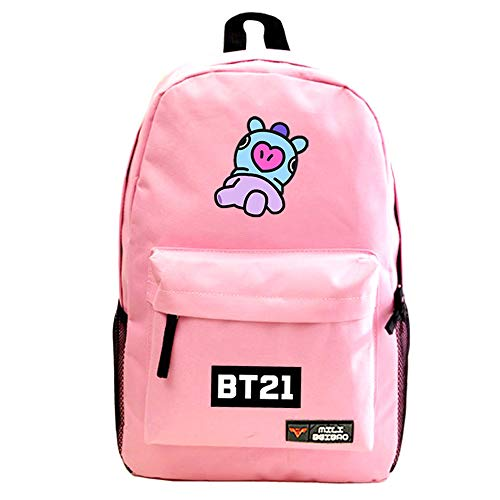 BTS Backpacks for Girls, Women Bangtan Boys Lovely BT21 Laptop Bags Teen Boys Kids School Bags Men Travel Rucksacks Armee Suga Jimin Jin Jung Jook J-Hope Rap-Monster V Daypack Handbags (Pink-Hema)