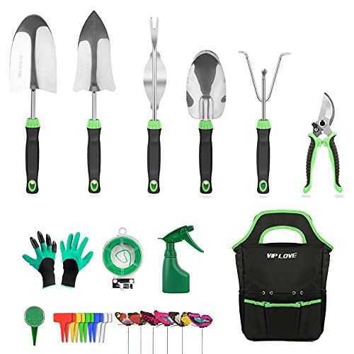 VIP LOVE Garden Tool Set - 27 Piece Stainless Steel Heavy Duty Gardening Tool Kits with Non-Slip Ergonomic Handle Tools…