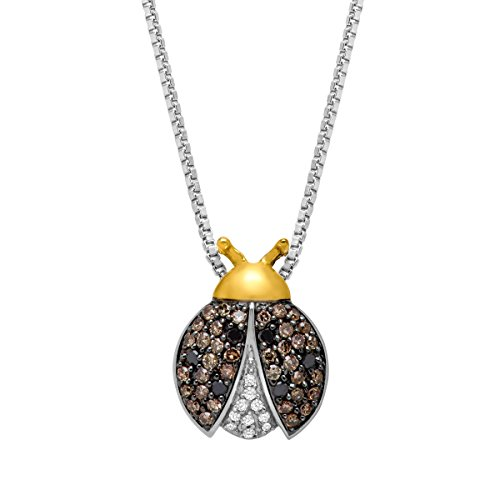 , Champagne & Brown Ladybug Pendant in Sterling Silver & 14K Gold, 18