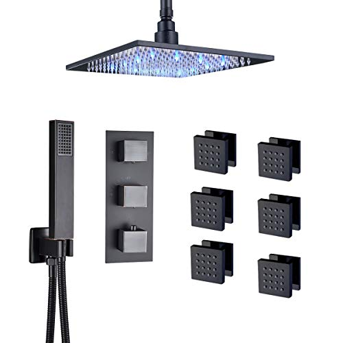 Rozin Ceiling Mounted LED 10-inch Rainfall Shower Set Thermostatic 3-way Mixer Control Massage Body Sprays with Hand Showerhead Oil Rubbed Bronze