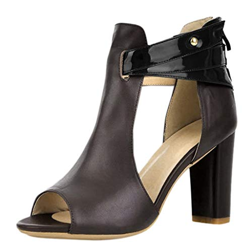 LONGDAY ⭐ Women's Wide Width Ankle Boots Mid Chunky Block Heels Round Toe Back Zipper Booties Pump Sandals Dress Shoes Coffee