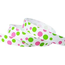 "Hip Girl Boutique 5yd 5/8"" Dippin' Dot Grosgrain Ribbon--White/Hot Pink+Apple Green"
