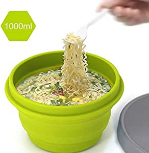 LAOPAO Collapsible Silicone Bowl with Lid 500ML 1000ML for Outdoor Camping, Travel, Hiking and Indoor Home Kitchen, Office, School Student, Food-Grade, Space-Saving (Yellow)