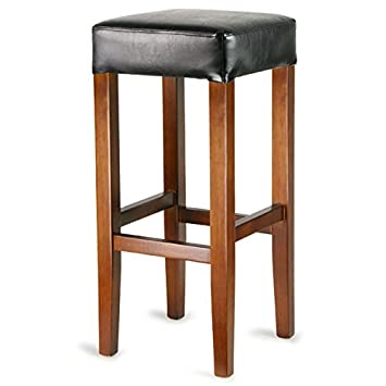 Wooden Cuboid Bar Stool Black - Four Leg Faux Leather Bar Stool Suitable for Commercial Use  sc 1 st  Amazon UK & Wooden Cuboid Bar Stool Black - Four Leg Faux Leather Bar Stool ... islam-shia.org