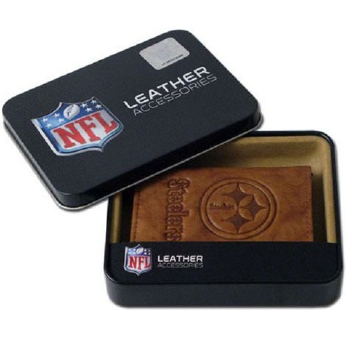 NFL Pittsburgh Steelers Embossed Leather Trifold Wallet, Tan (Merchandise Jersey Genuine)