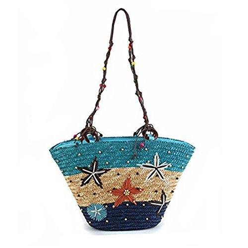 LAAT Weizen Gras Handtasche Handgewebte böhmische Stil Handgewebte Schultertasche Starfish Stroh Tasche Sommer Strand Tasche Perlen Weave Gewebe Tasche