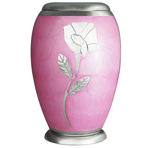 MEILINXU Ascot Pink WIth Silver Rose Cremation Urn by Handcrafted and Engraved Funeral Urns for Human Ashes Adult - Hand Made in Brass - Display Burial Urn At Home or in Niche at Columbarium (Large - Rose Design Urn