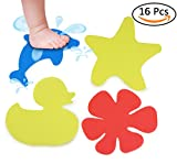 S&X Non Slip Stickers for Bathtub Pack of 16 PCS Cartoon Appliqués Gritty Surface Non-Slip Treads for Tubs,Showers,Pools,Stairs