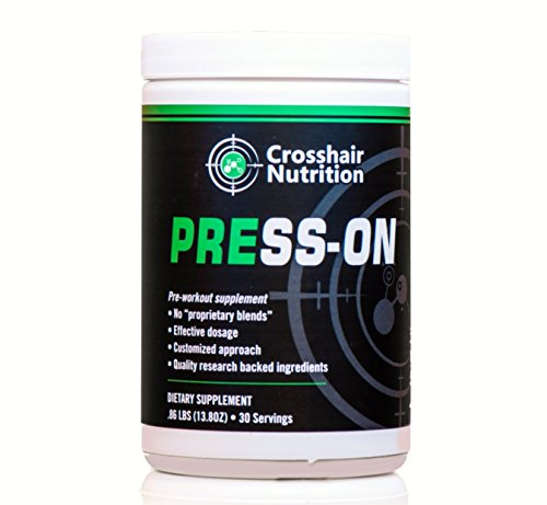 Press-On pre-workout supplement from Crosshair Nutrition (30 servings), contains Creatine, Carnosyn Beta Alanine, Citrulline, and other amino acids