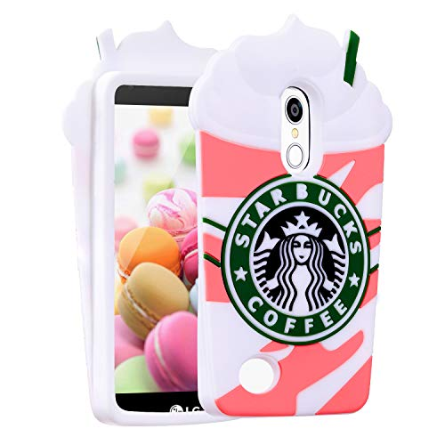 Coffee Pink Case for LG Tribute Dynasty/Zone 4/Aristo 2/Aristo 3/Tribute Empire/Fortune 2,3D Cartoon Animal Character Design Cute Soft Silicone Kawaii Cover,Cool Cases for Kids Boys Girls (K8 2017) (Empire Coffee)
