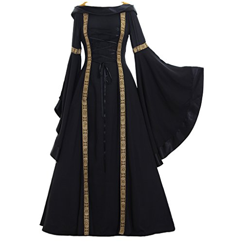 CosplayDiy Women's Sarah Black Renaissance Victorian Dress Costume -