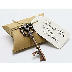 50 Piece Wedding Favors Candy Box with Antique Skeleton Key Bottle Openers