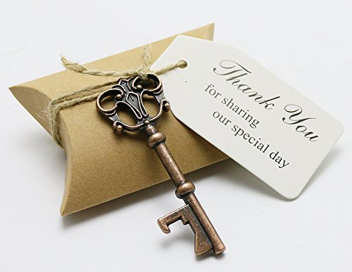 Antique Wedding Favors (50pcs Wedding Favors Candy Box w/ Antique Skeleton Key Bottle Openers Escort Card Thank You Tag Pillow Box (Key Style #3))