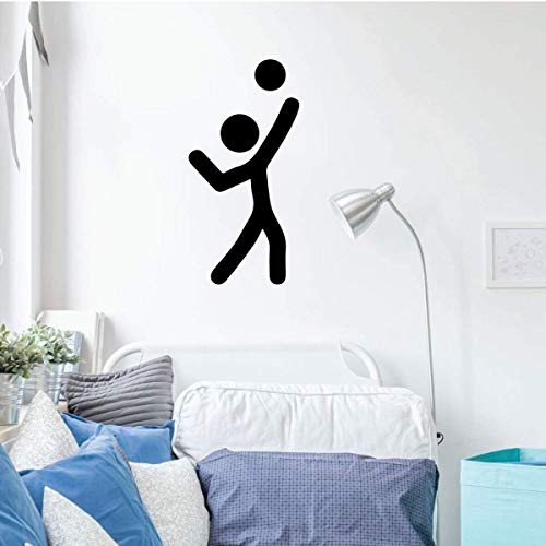 BYRON HOYLE Volleyball Wall Decal - Spike Stick Figure - Vinyl Decor for Bedroom or Playroom - Sports Decorations