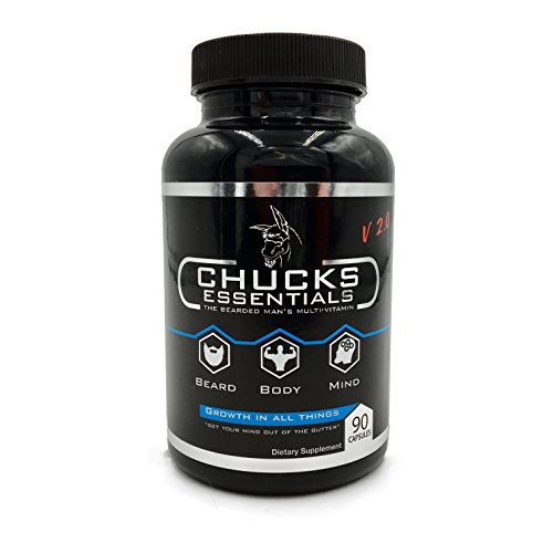Chucks Essentials - The Bearded Mans Multivitamin, 90 Gel Capsules, For Faster Growing Beard, Loaded with the Vitamins and Minerals Essential for Healthy, Thicker, Stronger, and Faster Growing (Growing Hair Gel)