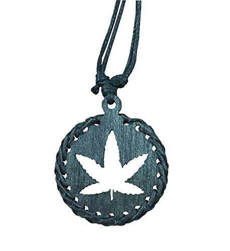 Diy Dark Angel Halloween Costumes (BetteRWeatheR Wood Pendant Necklace Handmade Style Beach Boy Men Yoga (Marijuana - Black))