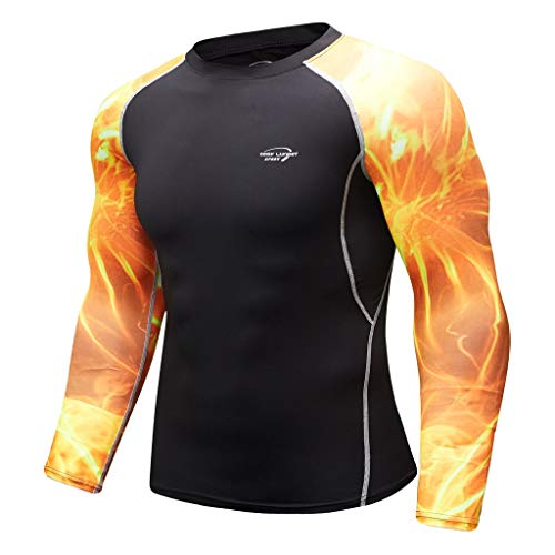 Men's Breathable Long Sleeve Yoga Fitness Print Sport Soft T-Shirt Top Blouse, MmNote ()