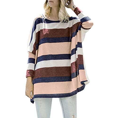 LEXUPA Women Plus Size Casual Stripe O-neck Long Sleeve Tops Shirt Blouse Loose Color t-shirt (White,X-Large)