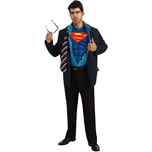 [Clark Kent Superman Costume - Standard - Chest Size 46] (Superman Clark Kent Halloween Costume)