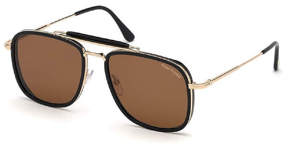 50f66f8093 Amazon.com  Tom Ford HUCK FT 0665 BLACK BROWN 56 17 145 men Sunglasses   Clothing