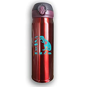 Mint Dinosaur Funny Print Stainless Steel Insulated Water Bottle,Travel Coffee Mug,thermos Cup, Men's And Women's Cup, New Style 500ML Red