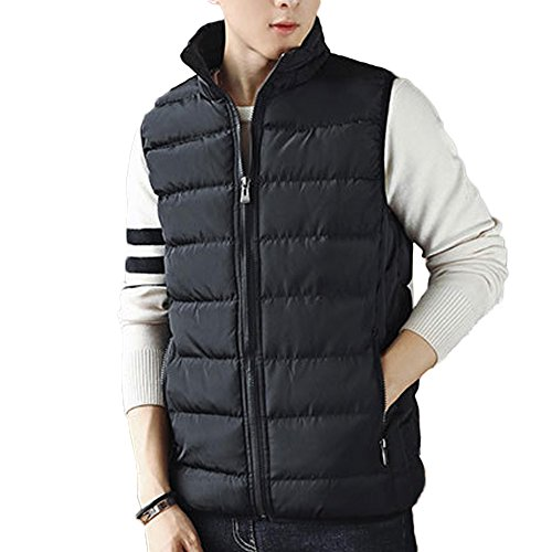 Men's Stand Collar Casual Lightweight Down Vest Jacket Coat Vest #1718, Black, US L(Tag 2XL)