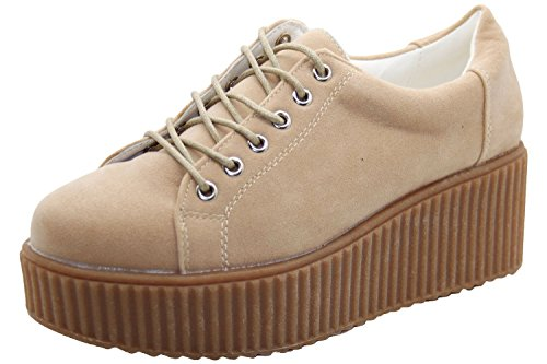 Ladies Creeper Suede Plimsol Thick Sole Pumps Trainer Shoes Nude W4yr5iE