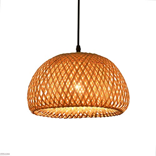 (Rishx American Garden Bamboo Ceiling Pendant Light Fixture Southeast Asian Rattan Wood Living Room Decoration Chandelier High Brightness E27 LED Hanging Lamp Hotel Exhibition Hall Study Kitchen Ceili )