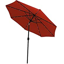 Sunnydaze Solar Powered LED Lighted Patio Umbrella with Tilt & Crank, 9 Foot, Burnt Orange